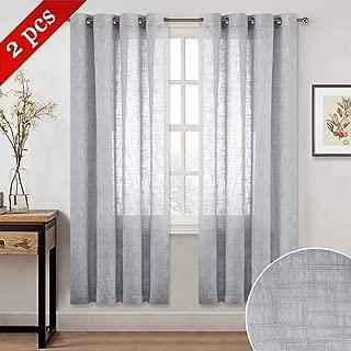 NICETOWN Linen Look Sheer for Bedroom - Ring Top Semitransparent Natural Elegant Faux Linen Textured Voile Panels for Living/Kids Room (Light Grey, 1 Panel = 52