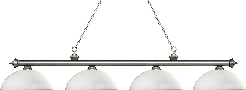 ZLite 2004ASDMO14 Riviera  Four Light Billiard, Glass Options  Dome Matte Opal Glass