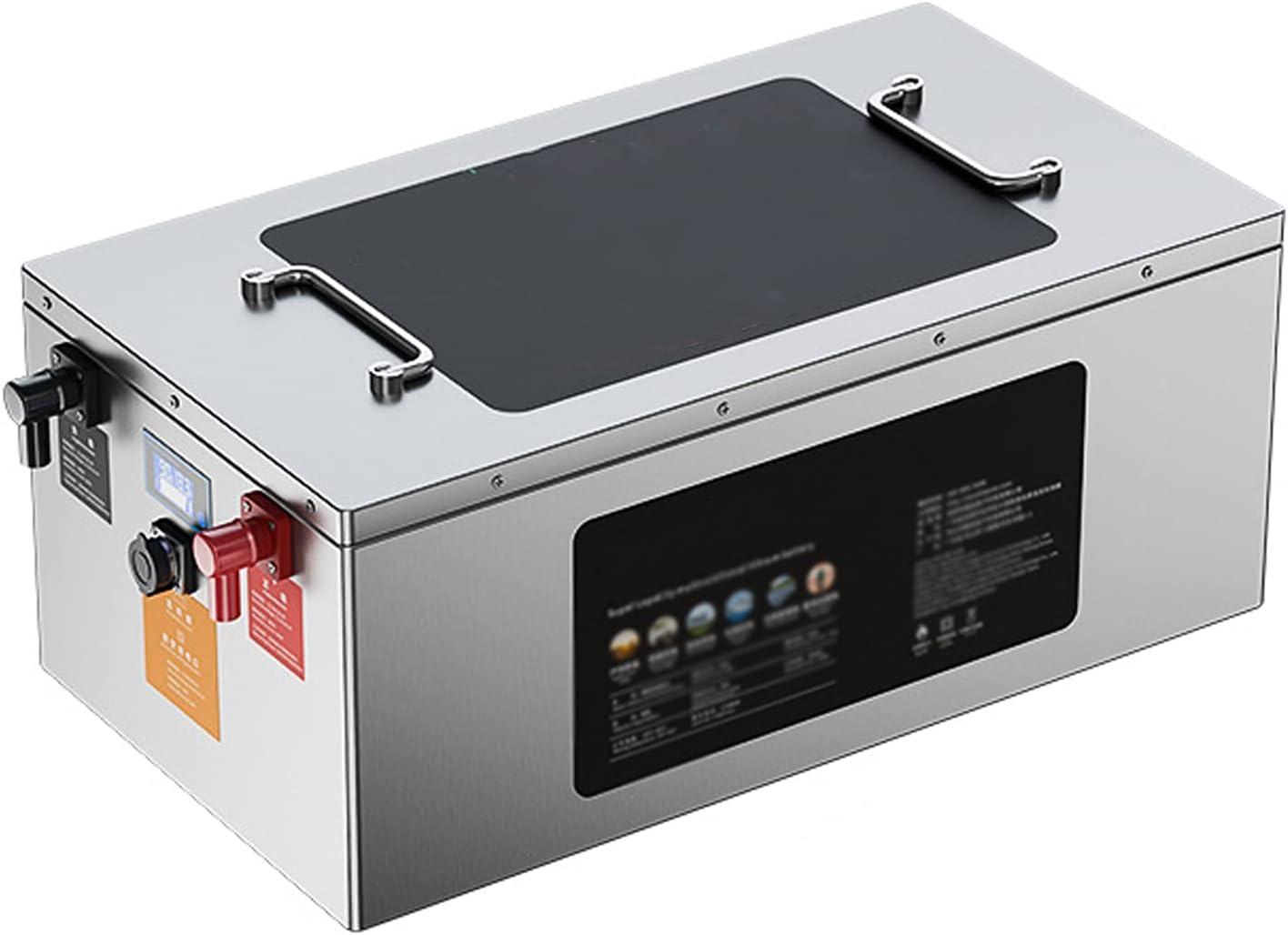 YHKJ Batería de Litio Impermeable LiFePO4 de 12 V 100-1000Ah con BMS 1500 ciclos Configurar la Pantalla de La BateríA Adecuado para RV HéLice Solar EóLica