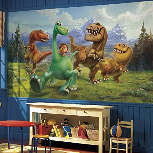 RoomMates JL1372M The Good Dinosaur Xl Chair Rail Prepasted Mural 6' x 10.5' - Ultra-Strippable