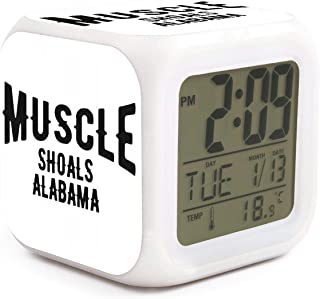 Muscle Shoals Alabama Alarm Clock Displays Time Date and Temperature Soft Nightlight for Kids Home Office Bedroom Heavy Sleepers