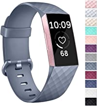 Vancle Silicone Bands Compatible with Fitbit Charge 3 Bands Rose Gold Replacement Charge 3 SE Sports Wristbands Small Large for Women Men