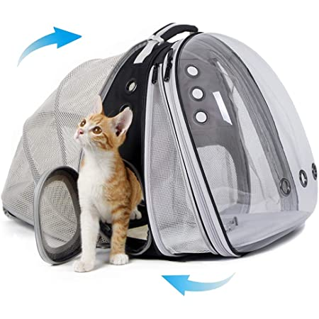 halinfer Expandable Front and Back Cat Backpack Carrier, Dual Expandable Space Capsule Transparent Clear Bubble Pet Carrier for Small Dog, Pet Carrying Hiking Traveling Backpack (Black)