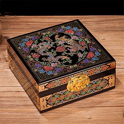 GFDFD Caja de Madera Retro Antigua Caja de Almacenamiento Accesorios para el hogar Pendiente Regalo Caja de joyería de Madera (Color : A)