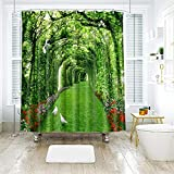 BRFDC Duschvorhänge 3D Druck Duschvorhang - grün Taube Schatten-Muster dekoratives Vorhang Badezimmer (Größe : 150x180cm)
