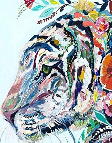 GEZHF - Kit de pintura al óleo para bricolaje, perfilado de cabeza de tigre, pintura por números para adultos principiantes y pigmento acrílico, 16 x 20 pulgadas sin marco