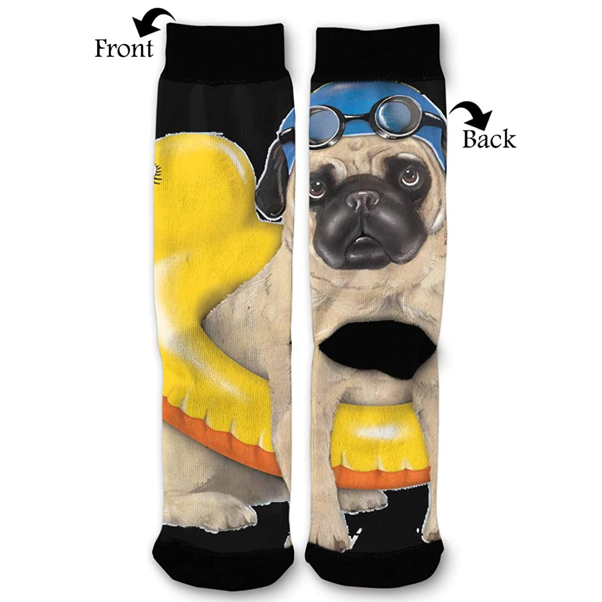 Summer Swimming Pug Dog Duck Lovely Quarter Dress Mid Calf Knee Crew Socks Calf Knit Hosiery Female Ladies Women Girl Teen Kid Youth Themed Clothing Party Clothes Dresses Apparel Ankle