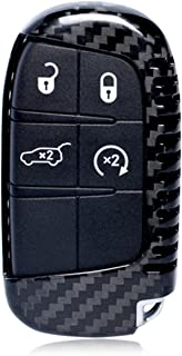 M.JVisun Echte Kohlefaser Abdeckung Fall Für Jeep Grand Cherokee SRT Cherokee Renegade Compass Auto Schlüssel Schlüsselanhänger   Schwarz