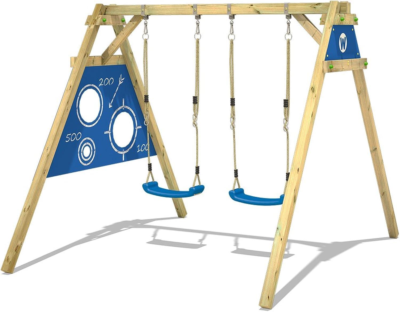WICKEY Schaukel Smart Score Gartenschaukel Schaukelgestell mit Torwand-Plane und 2 Schaukelsitzen