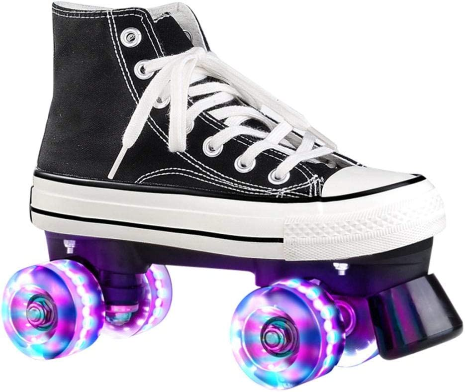 Womens Roller Skates Light Up Wheels Canvas Adjustable Double Row Roller Skates for Teens Youth Unisex