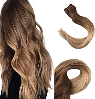 Full Shine 16 Inch Ombre Hightlights Color #10 Fading to #14 Dark Blonde Hair Bundles 100% Remy Brazilian Hair Weft 100g Per Set Colorful Hair Extensions Double Wefted Natural Weft Hair