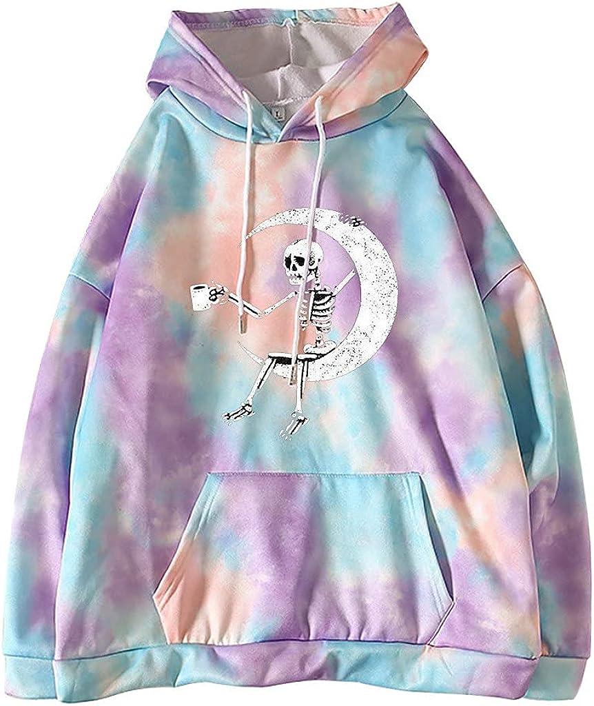 Toeava Hoodies for Women, Women's Fashion Tie Dye Print Moon and Skeleton Print Sweatshirt Long Sleeve Tops with Pocket