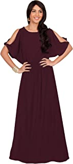 Womens Split Sleeves Smocked Elegant Cocktail Long Maxi Dress