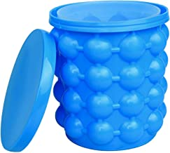Besmon Ice Cube Mold Ice Trays, Large Silicone Ice Bucket, (2 in 1) Ice Cube Maker, Round,Portable,For Frozen Whiskey, Cocktail, Beverages