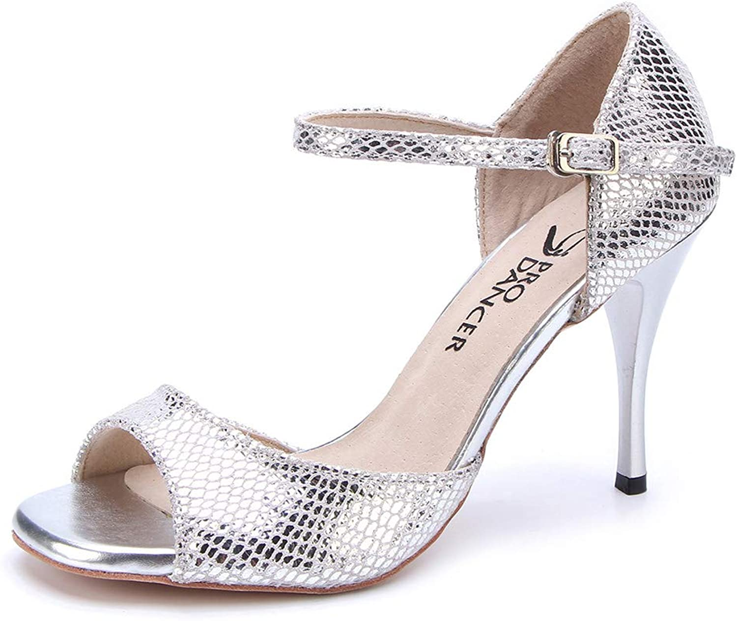 Pro Dancer Women silverina Tango Dance shoes Sandals Salsa shoes High Heel Leather Sole Silver