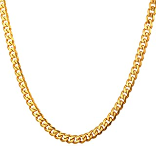 Polished Cuban Curb Chain Men Women Daily Fashion Jewelry 18K Gold Plated Stainless Steel Necklace, 3mm/6mm/9mm/12mm Wide,Length 18-30 Inches, with Custom Engraving Service