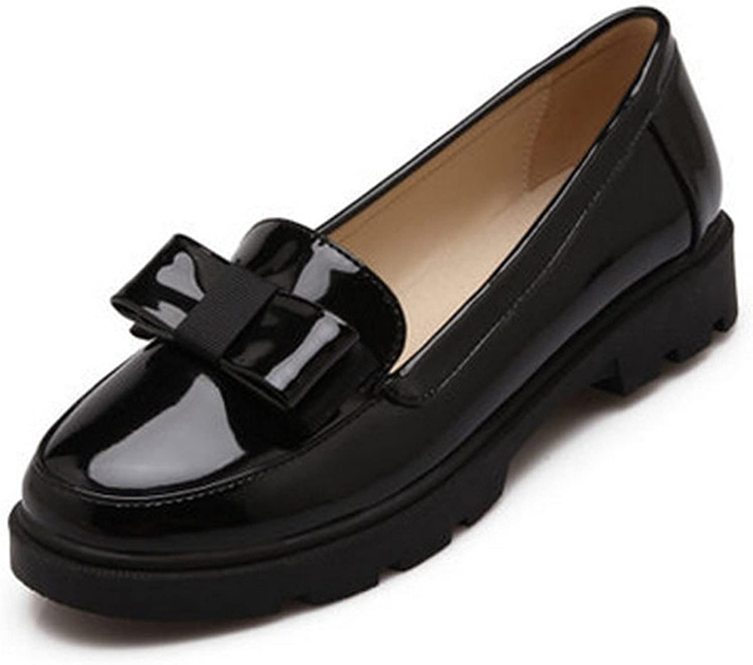 Orcan bluece Sweet Bow Patent Women Slip-on Casual Flat shoes Round Toe Loafers shoes