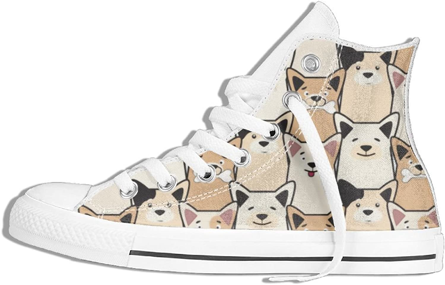 Womens Hi-Top Canvas Sneakers Cute Dog Lace Up Anti-slip Walking Trainers shoes