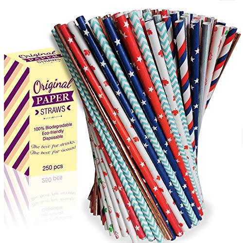 A&R Group Papierstrohhalme 250 Stück - Biologisch Abbaubare Bunte Trinkhalme - 250PCS Bio Einweg Strohhalme Papier für Cocktails, Säfte, Smoothies, Eiskaffee