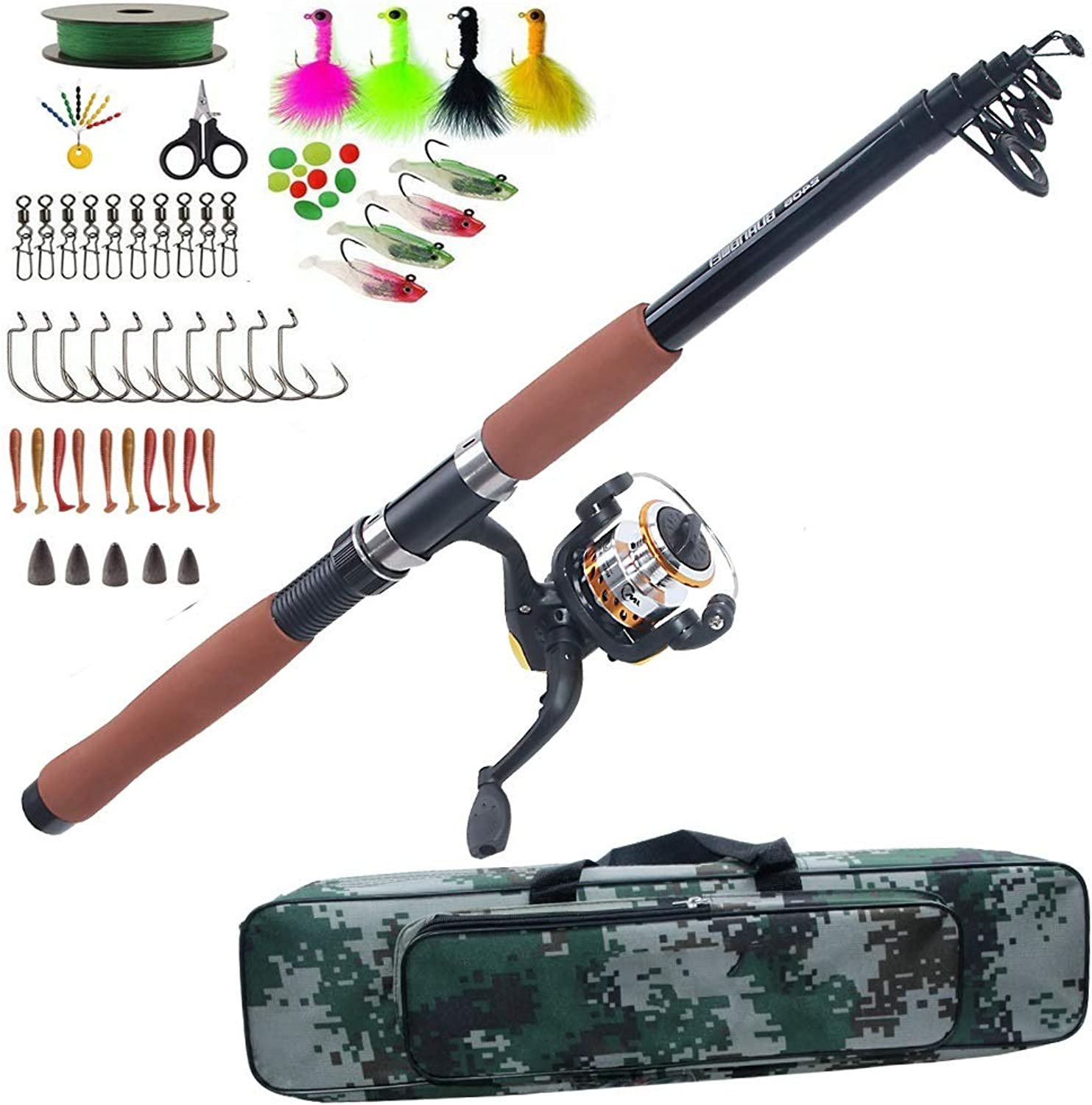 LMEI-QUN, Angelrute Combo Set Teleskop Sea Spinning Rute Reel Bag Kit mit Angelkder Haken Texas Rig Kit Tackle Tools (Farbe   2.7m Rod Combo)