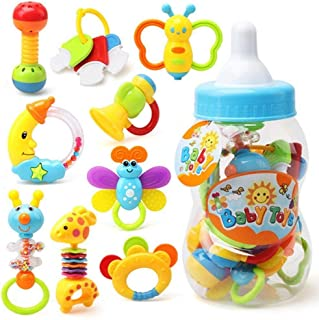 """9 Pcs Baby's First Rattle and Teether Toy with Giant Milk Bottle - Grasp Colorful Toy Sets 5""""x13"""""""