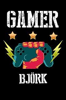Gamer Bjoerk: Kariertes Notizbuch mit 5x5 Karomuster fuer deinen personalisierten Vornamen
