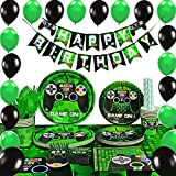 WERNNSAI Video Game Party Supplies - Gaming Party Decoration Boys Birthday Party Favors Cutlery Bag Table Cover Plates Cups Napkins Straws Utensils Birthday Banner & Balloons Serves 16 Guests 169 PCS