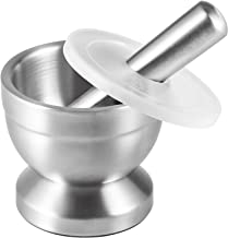 Tera Mortar and Pestle Sets 18/8 Stainless Steel Pill Crusher Food Safe Spice Grinder Herb Bowl Pesto Powder