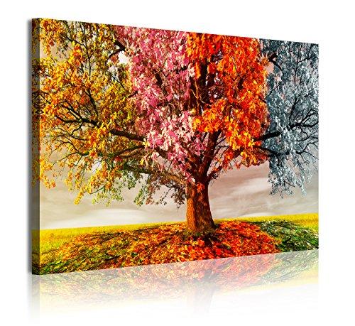 DekoArte 337 Cuadros Modernos Impresión de Imagen Artística Digitalizada, Lienzo Decorativo para Tu Salón o Dormitorio, Estilo Paisaje Árboles Cuatro Estaciones del Año, Calido, 1 pieza (120x80x3cm)