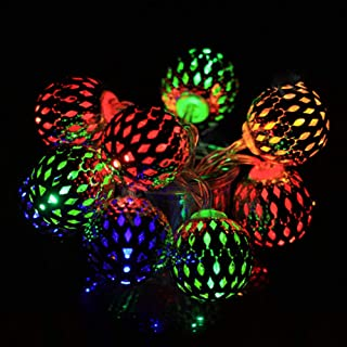 String Lights Multicolor Moroccan String Lights 20 LEDs 10 Feet Big Metal Ball String Lights Outdoor Battery Operated Fair...
