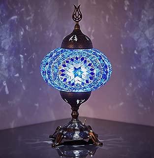 New BOSPHORUS Stunning Handmade Turkish Moroccan Mosaic Glass Table Desk Bedside Lamp Light with Bronze Base (Blue)