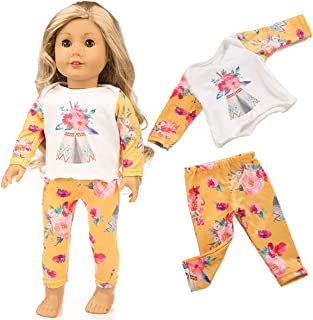yijing Doll Clothes Accessories,18 Inch Doll Clothes Party Art Pajamas Matching Doll Outfit(Tops + Pants) (D)