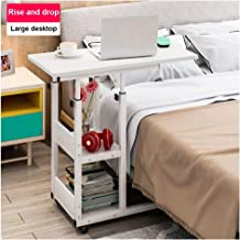 Mijaution Overbed Table - Adjustable Height Movable Bedside Table Computer Desk Sofa Table Double Shelves with Wheels - Medical Or Household Table (White, 31.5