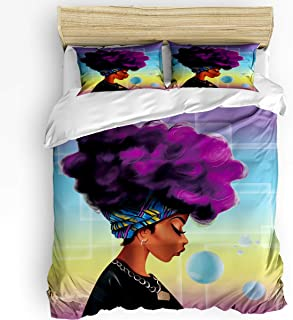YEHO Art Gallery King Size Luxury 3 Piece Duvet Cover Sets for Boys Girls,Colorful African Women with Purple Hair Pattern Adult Bedding Sets,Include 1 Comforter Cover with 2 Pillow Cases