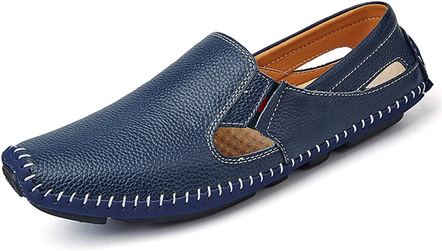 Fashion Men Drive Loafers Casual and Fashion Summer Hollow Breathable Leather Boat Moccasins Men's Boots (color   blueee, Size   7.5 UK)