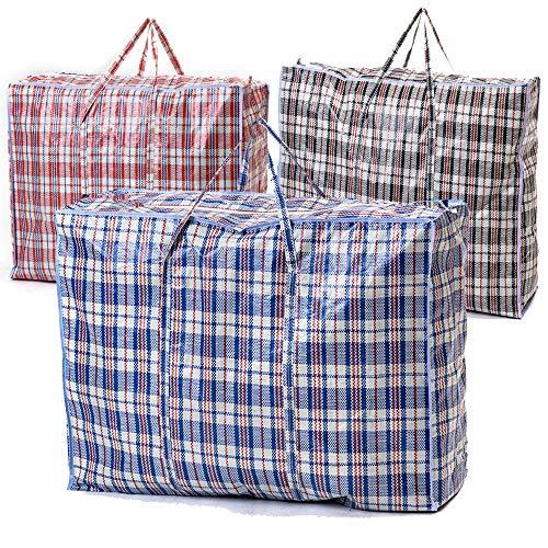 VIROSA Extra värde stora starka och hållbara tvättväskor | 10-pack | perfekt för tvätt/flyttande hus/shopping/förvaring | återanvändbar butik dragkedja väska