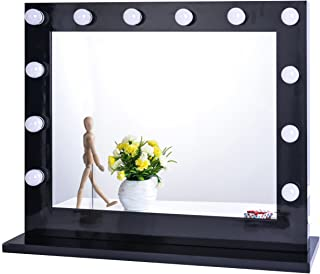 Chende Black Hollywood Lighted Makeup Vanity Mirror Light, Makeup Dressing Table Vanity Set Mirrors with Dimmer, Tabletop or Wall Mounted Vanity, LED Bulbs Included (8065, Black)