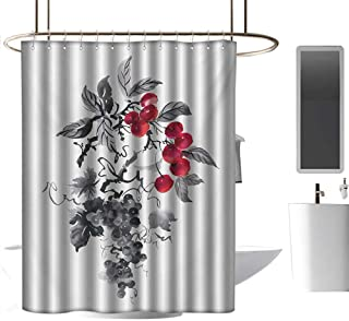 coolteey Shower Curtains Gray Purple Rowan,Rural Nature Inspired Artistic Foliage Composition Wild Berry Plant with Leaves,Grey Ruby Black,W72 x L84,Shower Curtain for Men