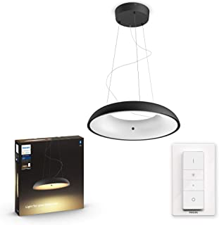 Philips Hue Amaze Lámpara Colgante Inteligente LED negra con Bluetooth, Luz Blanca de Cálida a Fría, Compatible con Alexa y Google Home