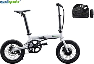 "Qualisports Nemo Folding Electric Bicycle (+Free Carry Bag) 16"" Ebike 7Ah Lithium-ion Battery, 36V/250W Hub Motor, Max Speed 16 MPH, 25+MILES, 4 Riding Modes Hybrid bikes for Adults from USA Warehouse"