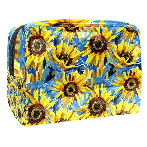Sunflowers Trousse de maquillage multifonction étanche avec fermeture éclair pour femme Multi01 18.5x7.5x13cm/7.3x3x5.1in