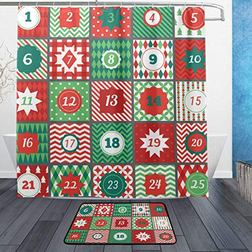 ISAOA Weihnachts-Adventskalender Rutschfeste Badezimmermatte für den Innenbereich, 60 x 40 cm, wasserdicht, 183 x 183 cm, waschbarer Duschvorhang mit 12 Haken