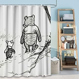DISNEY COLLECTION Shower Curtain Winnie The Pooh Drawings Bathroom Shower Curtains with Hooks