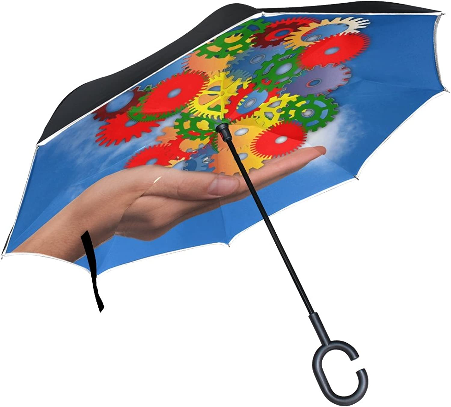 Double Layer Ingreened Hand Keep Gears colorful Clouds Way of Thinking Umbrellas Reverse Folding Umbrella Windproof Uv Predection Big Straight Umbrella for Car Rain Outdoor with CShaped Handle