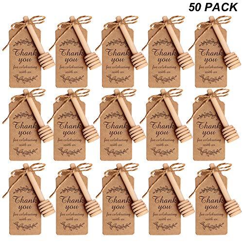 Amajoy - 50 cucharillas de té pequeñas de Madera para Miel con Tarjeta de Agradecimiento, Mini salero de Miel de 8 cm, Cuchara de Madera para Miel para Vasos de Miel para cosechas