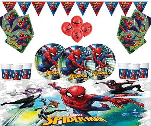 Marvel Spiderman Party Supplies Kinder Geburtstag Geschirr Spiderman Dekorationen für 16- Einweg Spider-Mann-Team Up Platten Latex Ballons & Banner