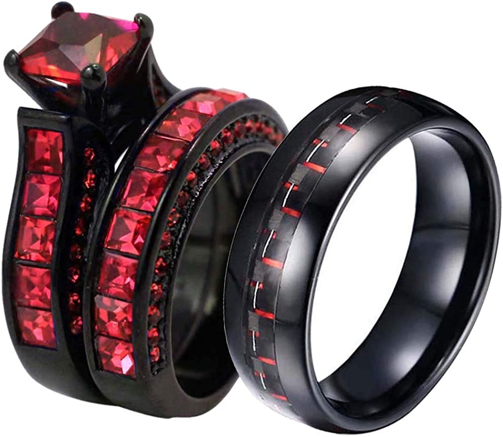 ringheart Quality inspection 2 Rings His and Hers Cz Black Beauty products Red W Couple