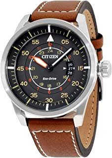 Citizen Men's Grey Dial Leather Band Watch - AW1361-10H