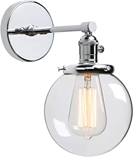 Phansthy Industrial Wall Light Globe Wall Sconce with 5.9 Inch Clear Glass Canopy (Chrome)