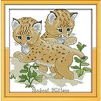 クロスステッチ大人、初心者11ctプレプリントパターン2匹の猫40x50cm -DIYスタンプ済み刺繍ツールキットホームの装飾手芸い贈り物40x50cm(フレームがない )